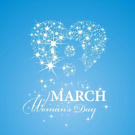 Womans Day 8 mars fond bleu étoiles Vecteurs