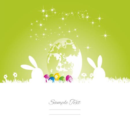 Conejos de Pascua luna de huevo fondo blanco verde Ilustración de vector