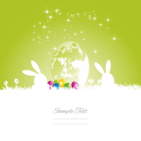 easter background: Easter rabbits moon egg green white background Illustration