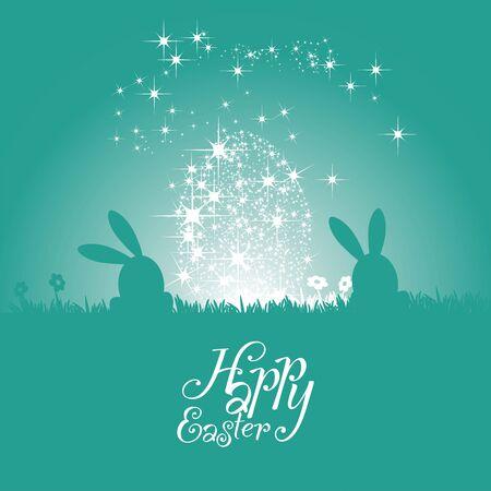 sea green: Easter bunny silhouette stars egg sea green background