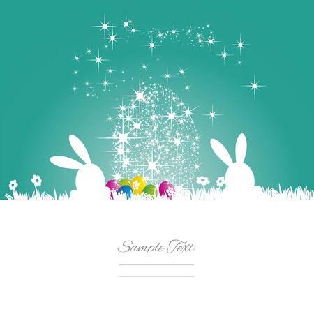 Pascua del conejito del huevo estrellas de mar fondo blanco verde