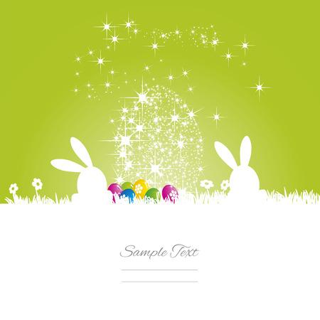 Easter bunny stars egg green white background