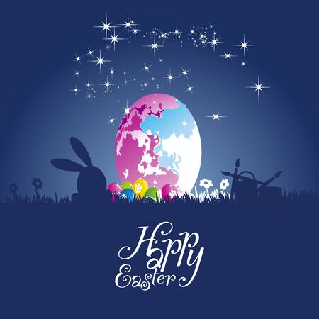 colored egg: Easter rabbit moon colored egg blue background