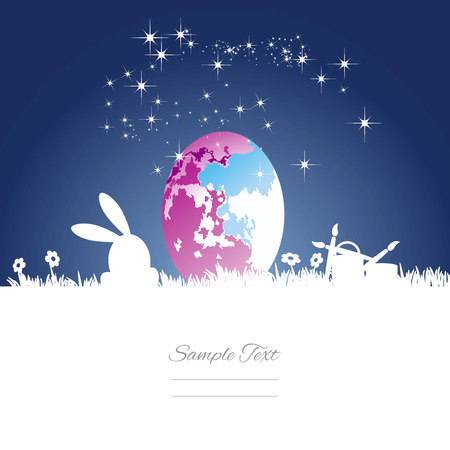 colored egg: Easter rabbit moon colored egg blue white background