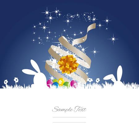 Easter bunny stars egg ribbon blue white background