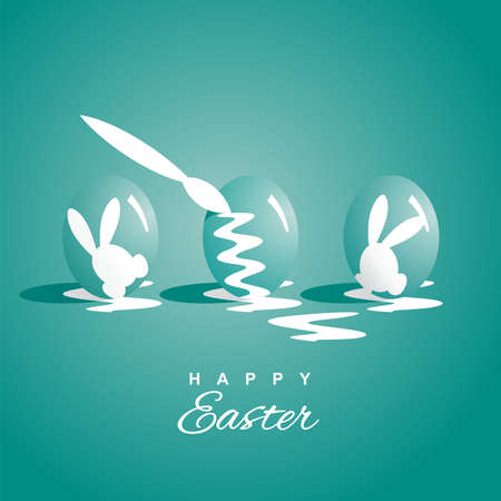 sea green: Coloring three Easter eggs sea green background Illustration