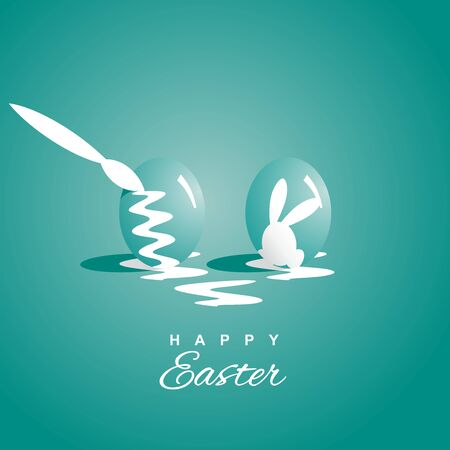 sea green: Coloring two Easter eggs sea green background Illustration