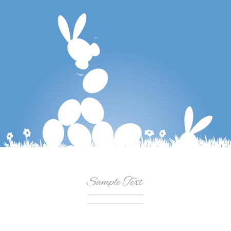 Egg hunt blue background Illustration
