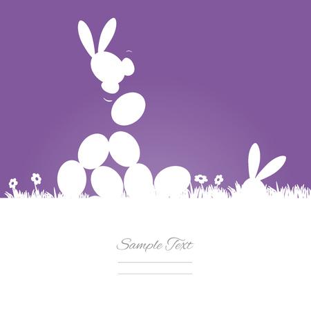 Egg hunt purple background Illustration