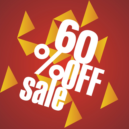 60: Sale 60 percent off orange red abstract background Illustration