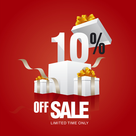 10: Sale 10 percent off card red background