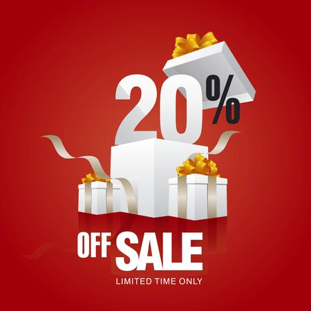 big boxes: Sale 20 percent off card red background