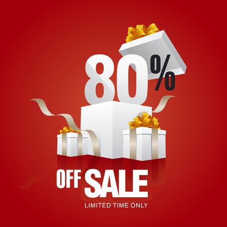 80: Sale 80 percent off card red background Illustration