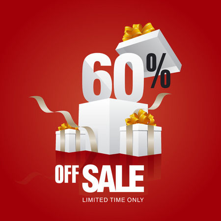 60: Sale 60 percent off card red background
