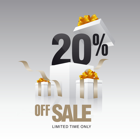 20: Sale 20 percent off card gray background