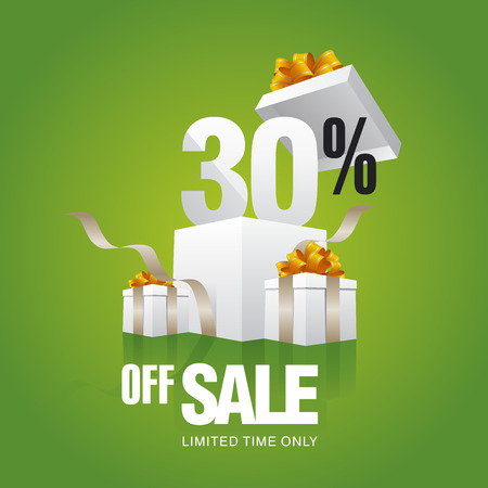 sell off: Sale 30 percent off card green background Illustration