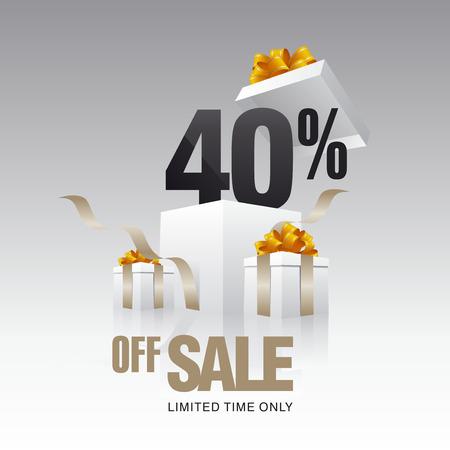 40: Sale 40 percent off card gray background Illustration