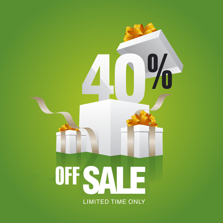 40: Sale 40 percent off card green background
