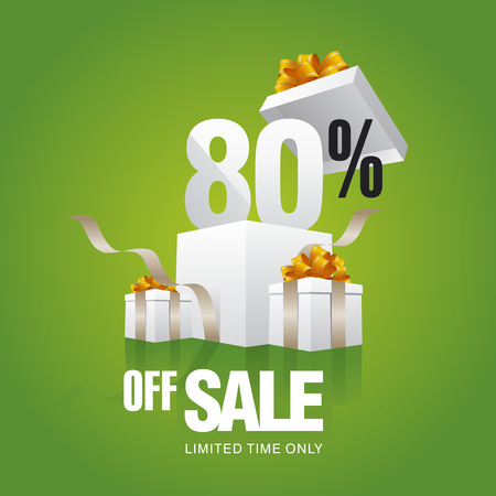 trade off: Sale 80 percent off card green background