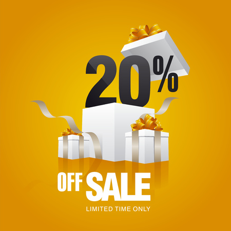 spring sale: Sale 20 percent off card orange background