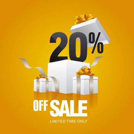 Sprzedaż 20 procent off karty pomarańczowym tle