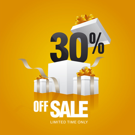 the 30: Sale 30 percent off card orange background Illustration