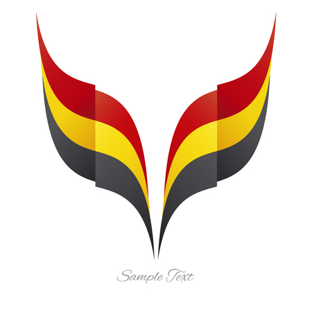 Abstract Belgian eagle flag ribbon logo white background