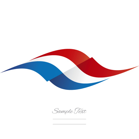 red white blue: Abstract French flag ribbon logo white background