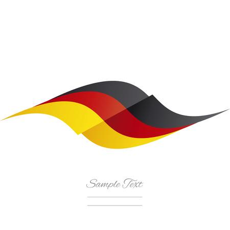 german flag: Abstract German flag ribbon logo white background Illustration