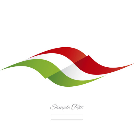 Abstract Italian flag ribbon logo white background Vectores