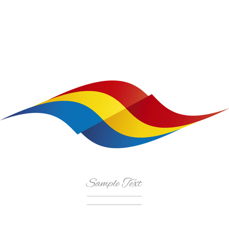 romanian: Abstract Romanian flag ribbon logo white background