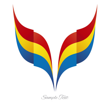 romanian: Abstract Romanian eagle flag ribbon logo white background Illustration