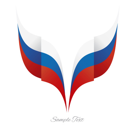 russian: Abstract Russian eagle flag ribbon logo white background
