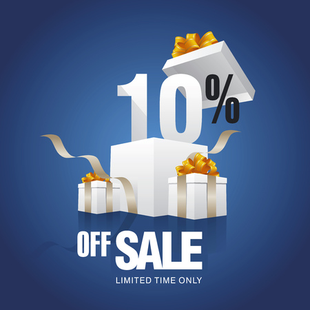 trade off: Sale 10 percent off card blue background