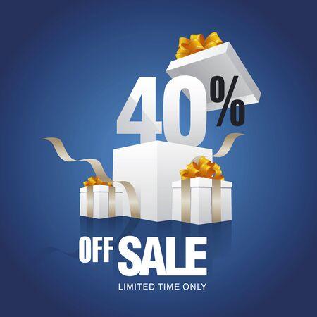 40: Sale 40 percent off card blue background Illustration