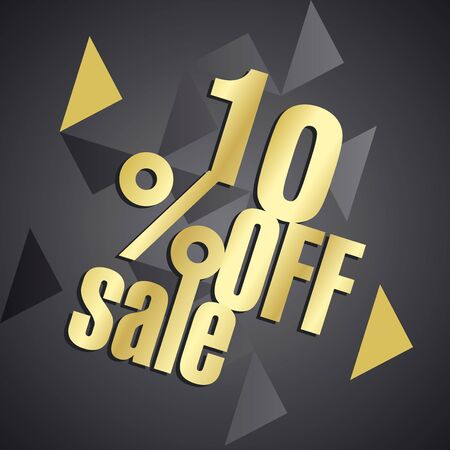 sell off: Sale 10 percent off gold black abstract background Illustration