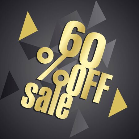 60: Sale 60 percent off gold black abstract background