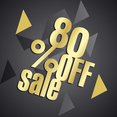 advertisement: Sale 80 percent off gold black abstract background Illustration