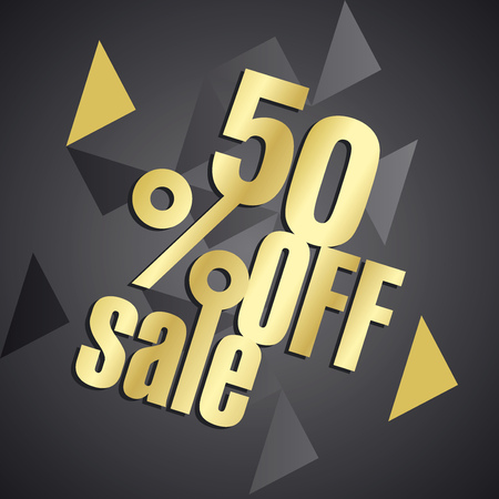 commission: Sale 50 percent off gold black abstract background Illustration