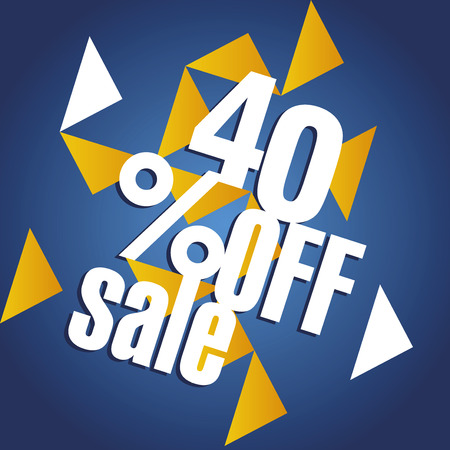 40: Sale 40 percent off orange blue abstract background