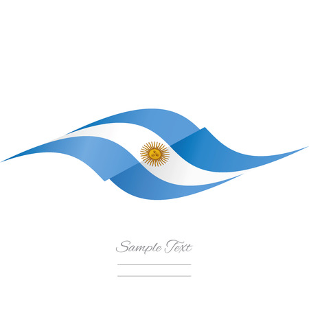 argentinean: Abstract Argentinean flag ribbon logo white background Illustration