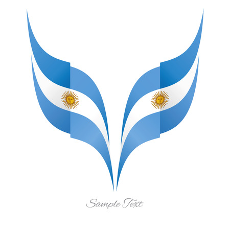 argentinean: Abstract Argentinean eagle flag ribbon logo white background
