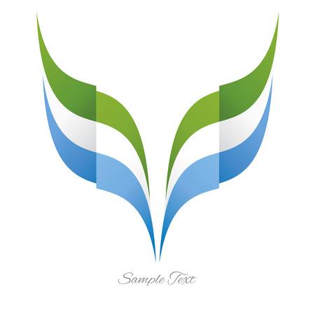 Abstract Sierra Leone eagle flag ribbon logo white background Logo