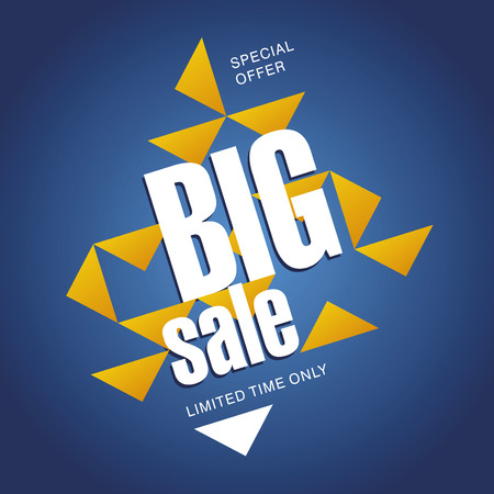 advertisements: Big sale offer orange blue abstract background Illustration