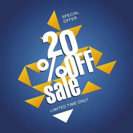 销售额提供20%的橙色蓝色抽象背景
