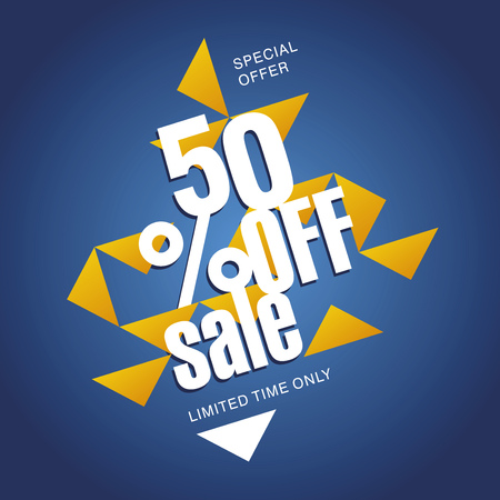 commission: Sale offer 50 percent off orange blue abstract background