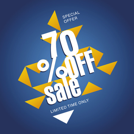 70: Sale offer 70 percent off orange blue abstract background