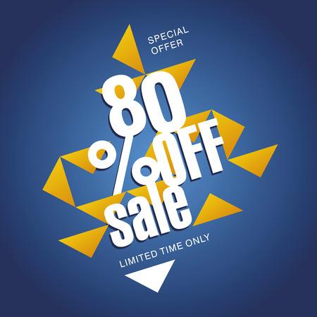 80: Sale offer 80 percent off orange blue abstract background Illustration