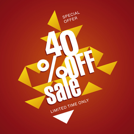 40: Sale offer 40 percent off orange red abstract background