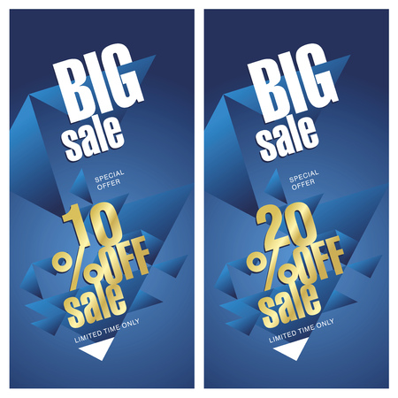 trade off: Big sale banner 10 and 20 percent off gold blue background